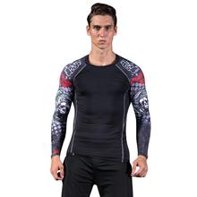 2017 Men's football Compression T Shirts apparel long Sleeve Athlete Basketball Man Bodybuilding Gym Clothes Slim Sportwear(China)