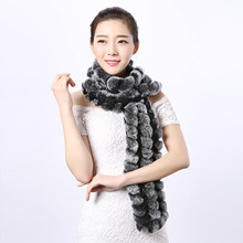 17 new leather Rex Rabbit scarf woven grass big lady Korean fashion in autumn and winter warm decorative shawl