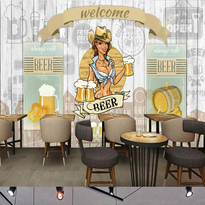 Beer beautiful girls Wood Board background wallpaper high quality living room bedroom gallery cafe bedroom bathroom mural<br><br>Aliexpress
