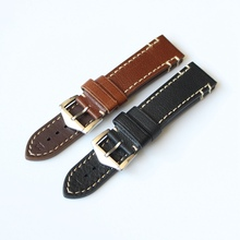 Soft comfortable Men's Retro Genuine Leather 20 22 24mm excellent Watch Bands Strap For Seiko Casio Omega PAM Belt black Straps(China)