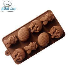 Easter Bunny Eggs Shape Chocolate Mold Rabbit Silicone Pudding Cake Mold Kitchen Accessories O2808(China)