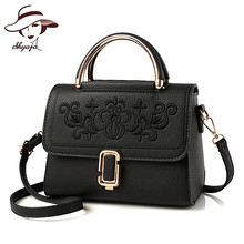 2017 New Summer Flower Embroidery Women's Leather Bag Tote Metal Handle Shoulder Handbag For Ladies Girls Satchel Casual Clutch