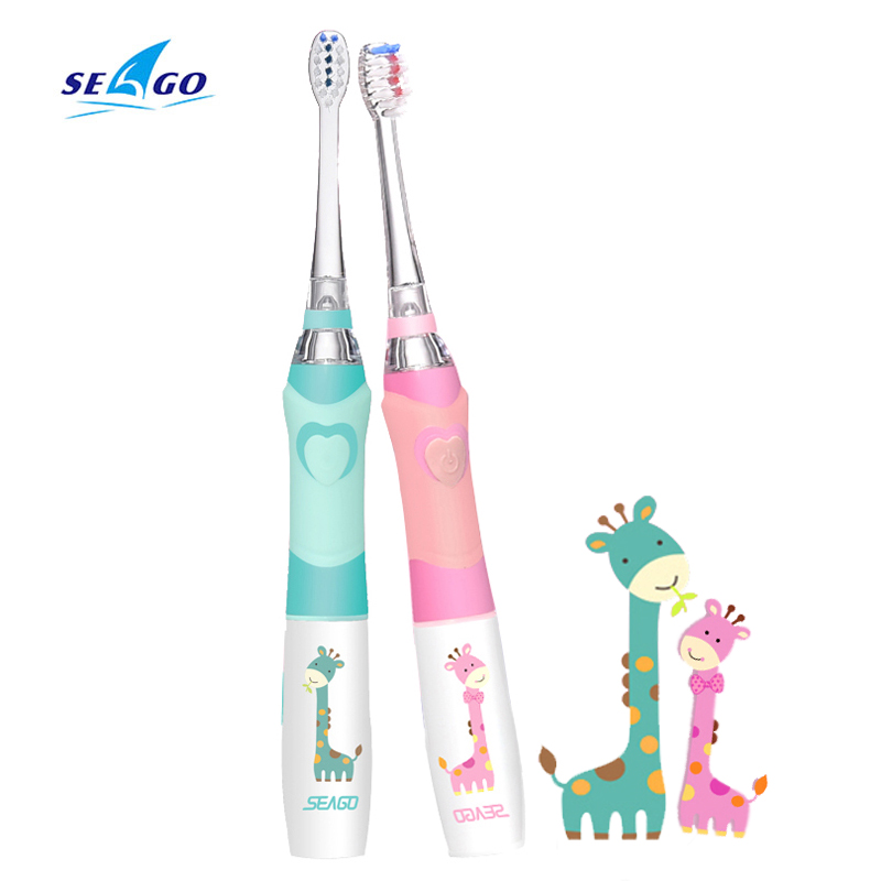 SEAGO Kids Sonic Electric Toothbrush Colorful LED Lighting Waterproof Soft Massage Teeth Care Oral Hygiene 1 PC