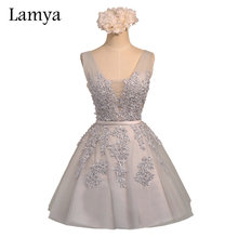 Lamya Sexy Lace Off Should A Line Cocktail Dresses 2017 Elegant Prom Party Dress Women Special Occasion(China)