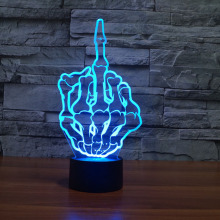 3D middle Finger table lamps 3D night light(China)