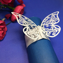 12Pcs Elegant Iridescent Paper Butterfly Carved Napkin Ring Holder Wedding Christmas Party Banquet Decoration Favor