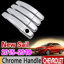 for Chevrolet New Sail 2015 2016 2017 2018 Luxurious Chrome Handle Cover Trim Set Sail 3 Car Accessories Sticker Car Styling(China)