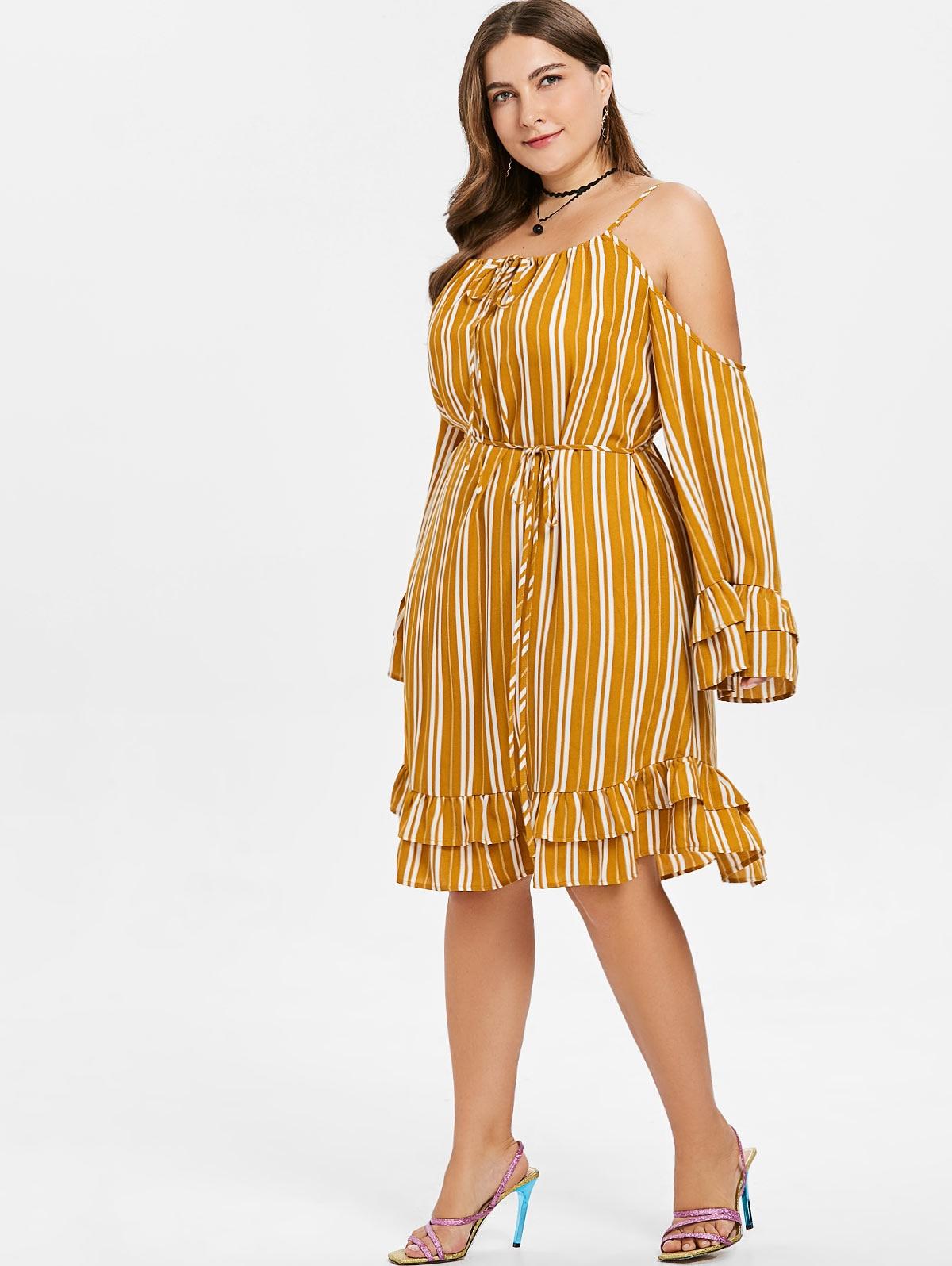 Dresses Length Mini Neckline Spaghetti Strap Sleeve Type Flare Sleeve  Sleeve Length Long Sleeves Embellishment Ruffles Pattern Type Striped With  Belt Yes c44a070f7bb2