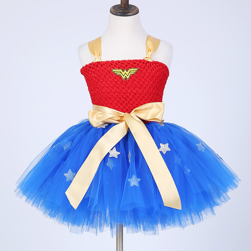 2018 Top quality Swordswoman Flower Girl Dresses Blue and Red Bow 2-8Year Cosplay Draped Ball Gown Evening Dress Kids Party<br>