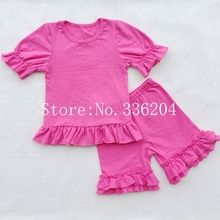 summer children's boutique clothing shorts hem t-shirt icing ruffle shirt Ruffle Sleeved Raglan shorts set