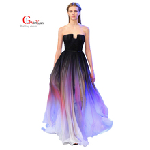Gradient Chiffon Dress 2017 Lily Collins Fold Gradient Dress Chiffon Celebrity Red Carpet Dresses