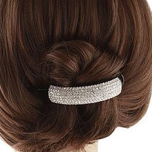 Top Quality Street Snap Trendy Shinng Full Crystal Half Moon Plastic Hair Barrettes Hair Clips Hairgrips for women