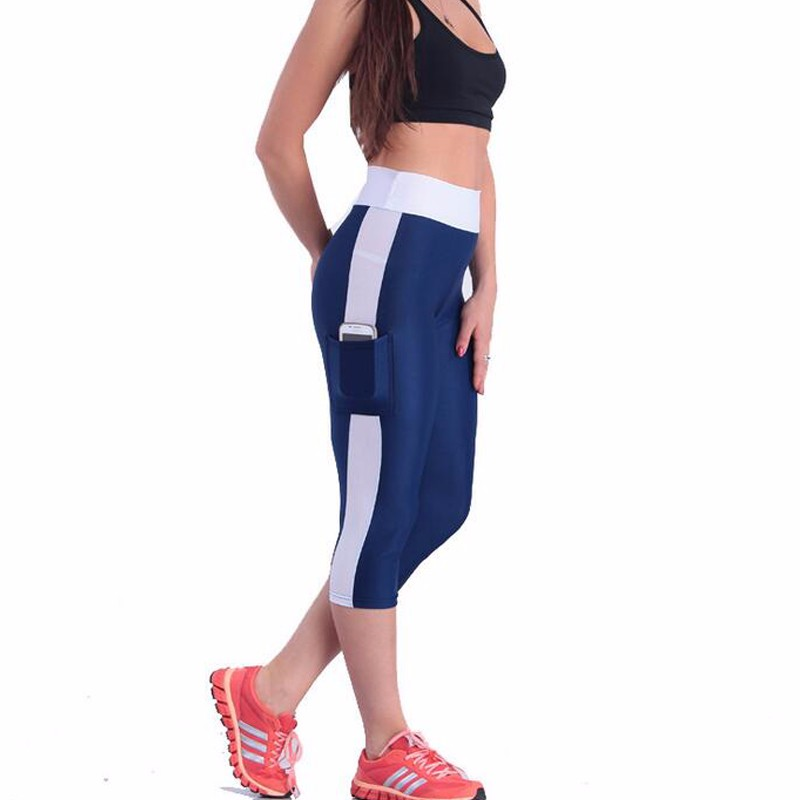 2016 Europe and America new sports leggings woman seven yoga pants side pocket pants women sports pants(China (Mainland))