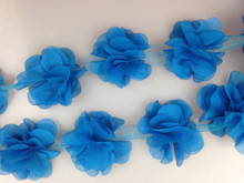 1yard Wedding party women favors ribbon chiffon Blue lace with flower trim lace fabric decoration Fringe clothes accessories(China)