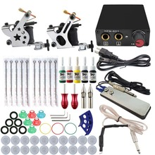 Hot Professional Tattoo Kit 2 Machines Gun 5 Color Inks Power Supply Needles Set Cheap-Tattoo-Machines SC151