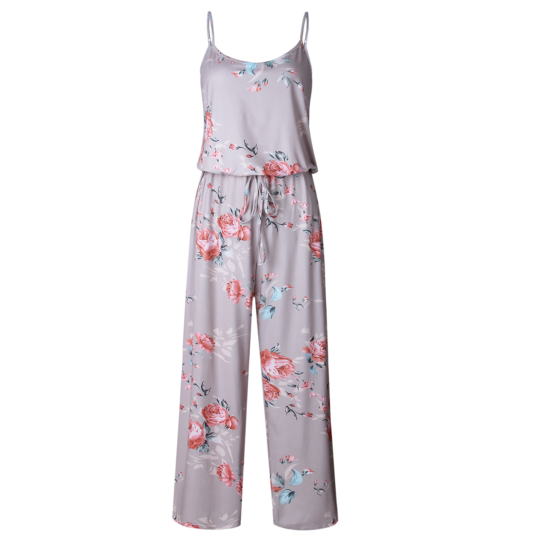 Spaghetti Strap Jumpsuit Women 2018 Summer Long Pants Floral Print Rompers Beach Casual Jumpsuits Sleeveless Sashes Playsuits 32