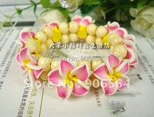 Free shipping multiple color Hawaiian Plumeria flower bracelet,fashion island bracelet,wood beads bracelet,12pcs/lot(China)
