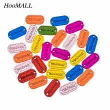 Hoomall 100PCs Multicolor Wooden Buttons Handmade Letter Carved Decorative Buttons Fit Sewing Scrapbooking Crafts DIY 24x12mm