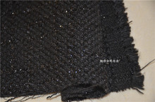 free ship polyester tweed fabric black weaved price for 1/2 meter(China)