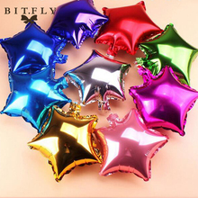 5 pcs 10 inch Helium Foil Balloon Five-Point star Wedding Ball aluminum Balloons Inflatable Birthday toy Party Decoration gold