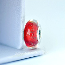 2pcs 2017 Winter Release 925 Sterling Silver Red Sparkling Murano Glass Charm Fits European DIY Jewelry Bracelets Necklaces G082(China)