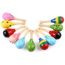 2016 Newly 1pc Baby Musical Wooden Sand Hammer Handbell Rattle Educational Toy Instrument Percussion Infant Playing Type