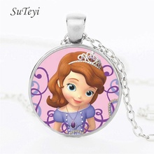 SUTEYI New Sofia the First Necklace Princess Sofia Pendant Beautiful Princess Glass Dome Necklaces & Pendants Children Jewelry(China)