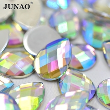 13*18mm 200pcs Crystal AB Color Drop Shape Acrylic Rhinestones Flatback Strass Crystals Stones For Clothes Crafts