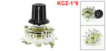 KCZ-1*8 Single 1 Pole 8 Throw Position TV Radio Band Channel Selector Ceramic Rotary Switch w Plastic Knob
