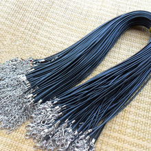 Wholesale 1.5 mm black leather cord wax rope chain necklace 45 cm lobster clasp DIY jewelry accessories 10. /batch number