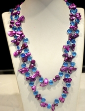 2016 new design Lilac Purple Pearl and blue crystal handmade long necklace(China)