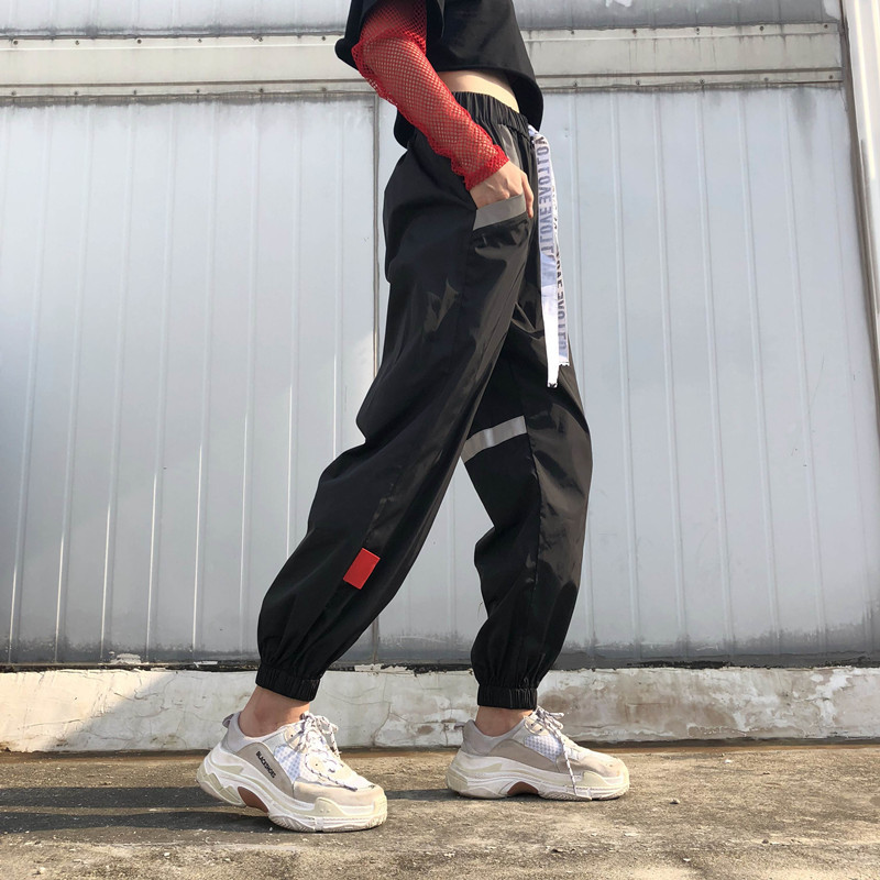 8Sweetown Plus Size Pantalon Large Femme Black Harajuku Cargo Sweat Pants Korean Style High Waist Baggy Joggers Women Sweatpants