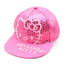 New Childrens Cartoon Sequin Hello Kitty Snapback Hip-Hop Adjustable Kids Baseball Cap Flat Along Hat