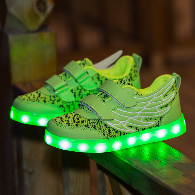 Unisex Children Fashion Led Charging Shoes Dot Pattern Wing Decor Kid Light Up Shoes BabyBoy Girl Luminous Glowing Sneakers<br><br>Aliexpress