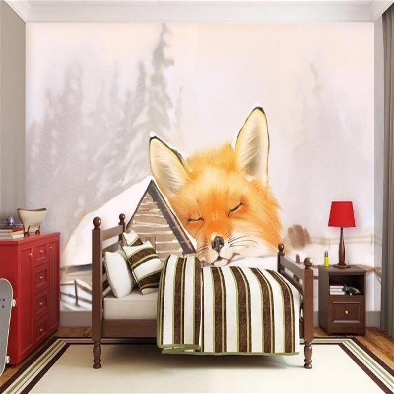 Custom Photo Wallpapers Cartoon Fox Wallpaper Roll Hand Painted Chalet Wallpaper Kids Wall Murals for Children Room Cute TV Wall<br>