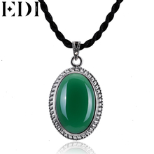 EDI Silver 925 Jewelry Opal Jade Necklaces Pendants Chalcedony Gemstone Pendant Women Peridot Necklace Fine Jewelry(China)