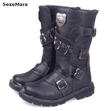 New Arrival Autumn/winter Men Motocross Motorcycle Waterproof Martin Boots Shoes Leather High Top Cowboy Army Combat Boots Shoes