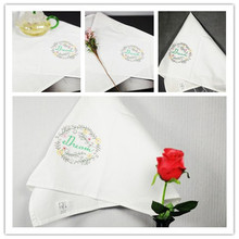 6pcs American country embroidered cloth napkins placemats cloth folded white cotton high quality multi purpose household fabric(China)