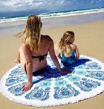 Hot sale 150*150cm thin style Round Beach Towel bath towel  yoga mat beach sunscreen shawl