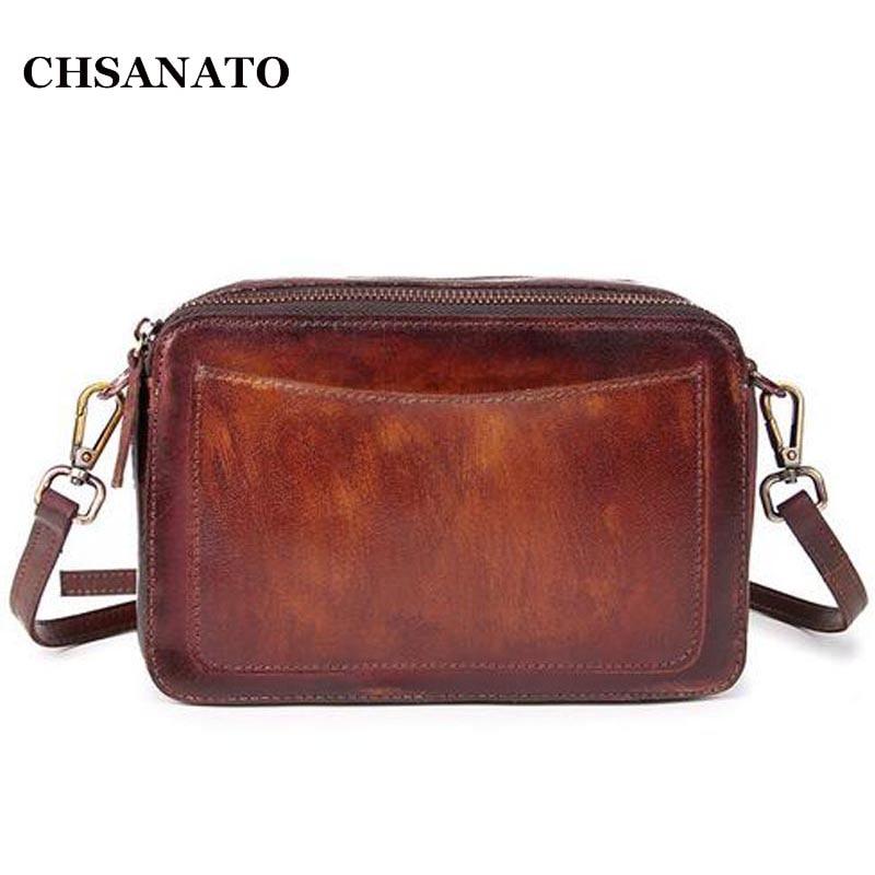 CHSANATO Brand Genuine Leather Women Messenger Bag Female Small Mini Shoulder Bags Womens Retro Crossbody Bag bolsos<br>