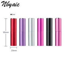 Nbyaic 5Pcs Blank Sample Lipstick Shape Glass Perfume Bottle 8ml Swivel Spray Type Aluminum Cosmetic Packaging Parfum Bottle(China)