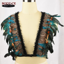 Body Harness Caged Bra Feather Epaulettes Bondage Shoulder Harness Lingerie Festival Burning Rave Wear Angel Wings Wedding Dress
