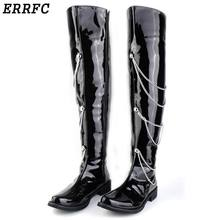ERRFC Fashion Forward Black Motorcycle Boots Men Patent Leather Over The Knee 66cm Pole Dancing Boot Men Chains Charm Zip 38-44