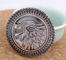 new design hot selling A Song of Ice and Fire Game of Thrones wolf Pin brooches jewelry Stark wolf Jon Snow(China)