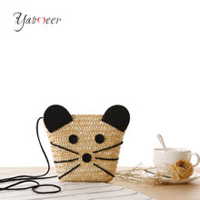 Yaomeer Cute Straw Beach Bag Women Summer Straw Bags Handbags Women Famous Brands Mouse Cartoon Messenger Bag bolsa feminina 002