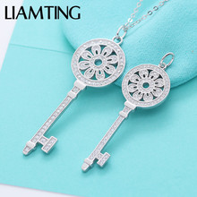 LIAMTING Hot Sale 925 Sterling Silver Key Pendant Necklace With Cubic Zircon Brand Design Silver Chains For Lady Jewelry VA175