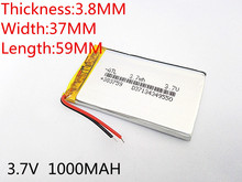 10pcs 3.7V 1000mAh 383759 Lithium Polymer Li-Po li ion Rechargeable Battery cells For Mp3 MP4 MP5 GPS PSP mobile bluetooth