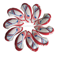 POWO 10pcs Neoprene Golf Club Iron Head Cover Set White With Red US Flag Headcovers One size Fit All Irons high quality