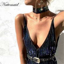 NATTEMAID Women A line Sequins Dress Green color Deep V neck Shinning Party wear Lady Sexy club above Knee Mini Dresses vestido(China)