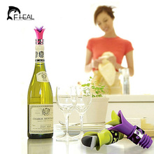 FHEAL 1pc Newest Lily Wine Bottle Stoppers Silicone Approved Food Grade Durable Wine pourer Bar Tools